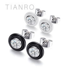 TIANRO Stainless steel classic neutral earrings Ceramic inlaid zircon simple ladies Holiday gifts
