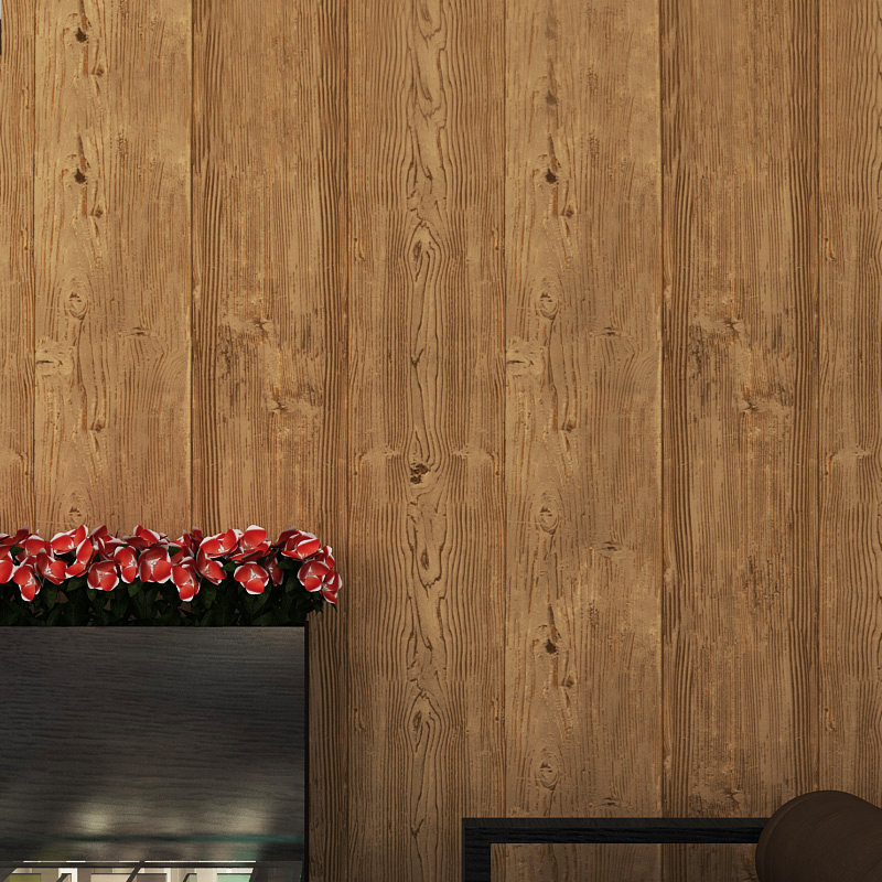 Super thick 3d wood texture embossed waterproof pvc wall for Wood wallpaper for walls