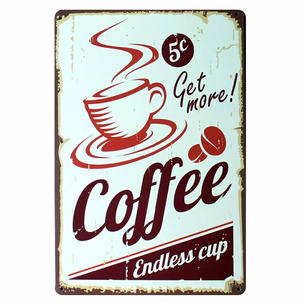 Mike86 Get More Coffee Metal Signs Wall Decor House Cafe Bar Retro