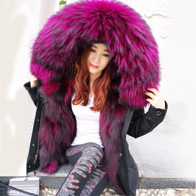 2017 Mode d'hiver veste femmes outwear épais parkas raton laveur naturel col réel doublure en fourrure de renard manteau à capuchon Top marque m. vente chaude