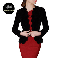 BiSHE Autumn Spring Velvet Blazer Women 2017 Elegant OL Formal Office Slim Long Sleeve Ladies Blazers