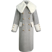 2019 winter fashion straight women White fur collar wool coat female double breasted gray woolen coat thickening
