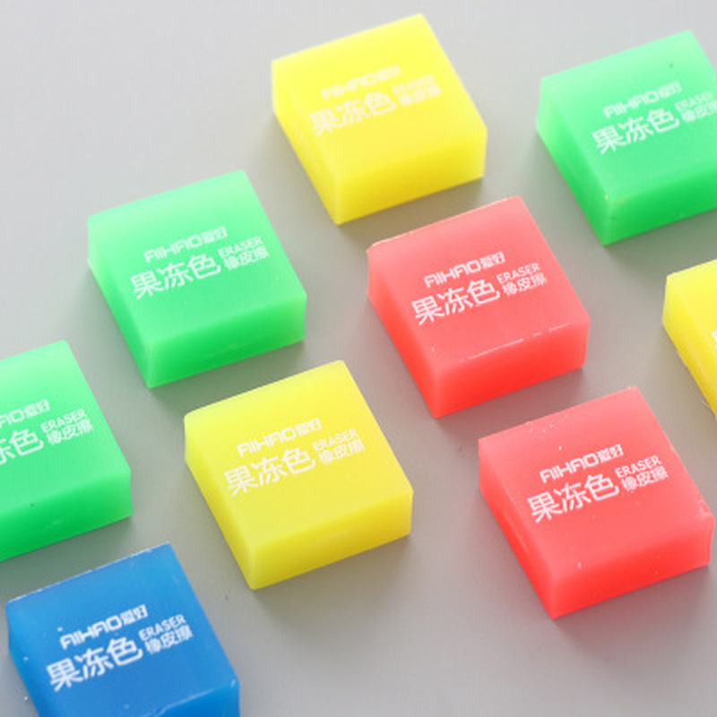 1PCS Kids Eraser Cute Stationery Jelly Color Eraser Prizes For Kids Square Novelty Erasers Student Painting Erasers Cute Gifts
