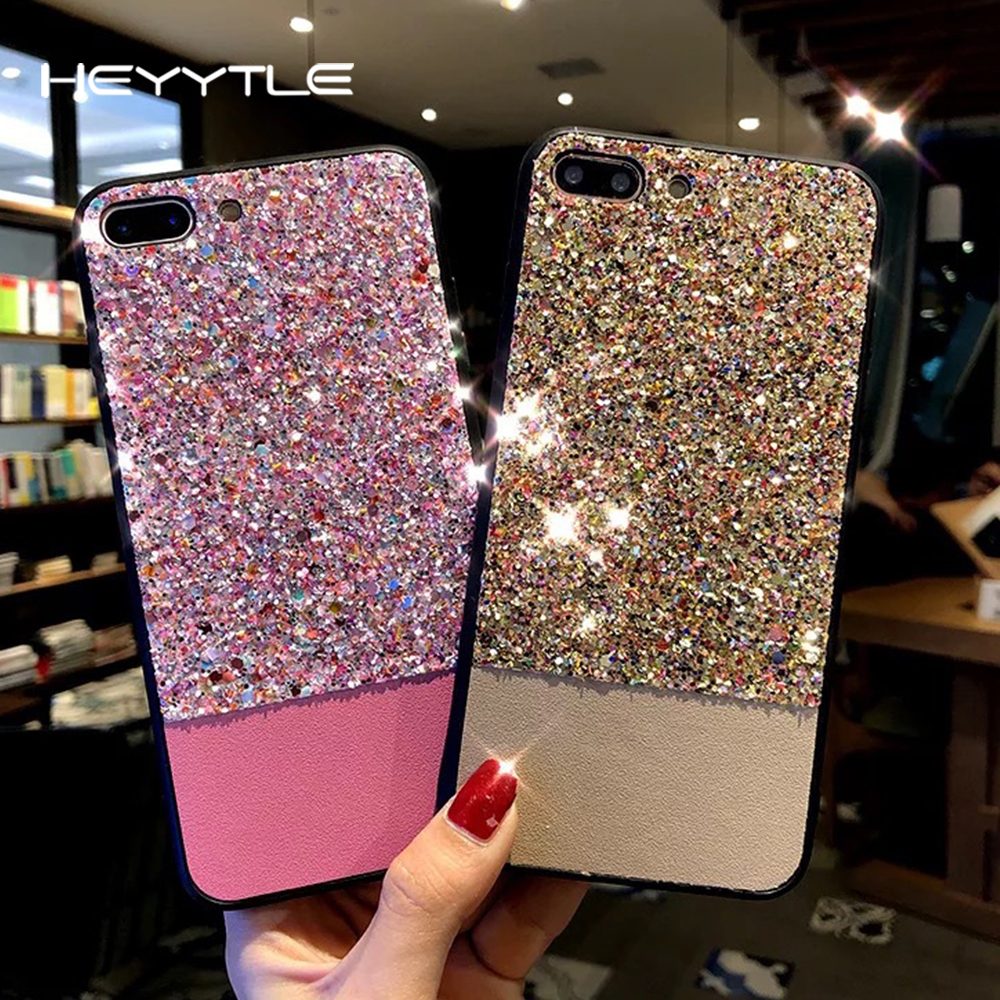 Heyytle Glitter Shining Phone Case For Apple iPhone X 8 7 6S 6 Plus Sequins Luxury Coque Back Fashion Cover Cases