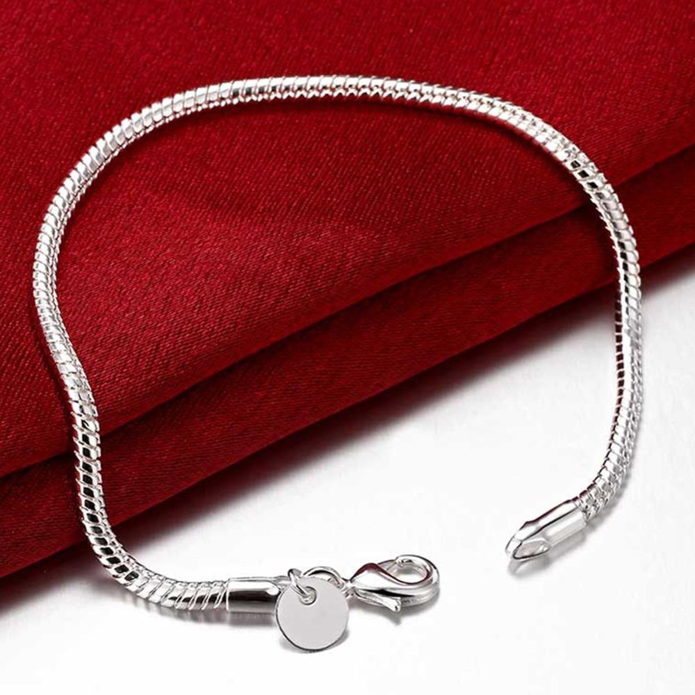 New Arrival 925 Sterling Silver Jewelry 3mm Snake Chain Bracelets for Women Men Trendy Jewelry