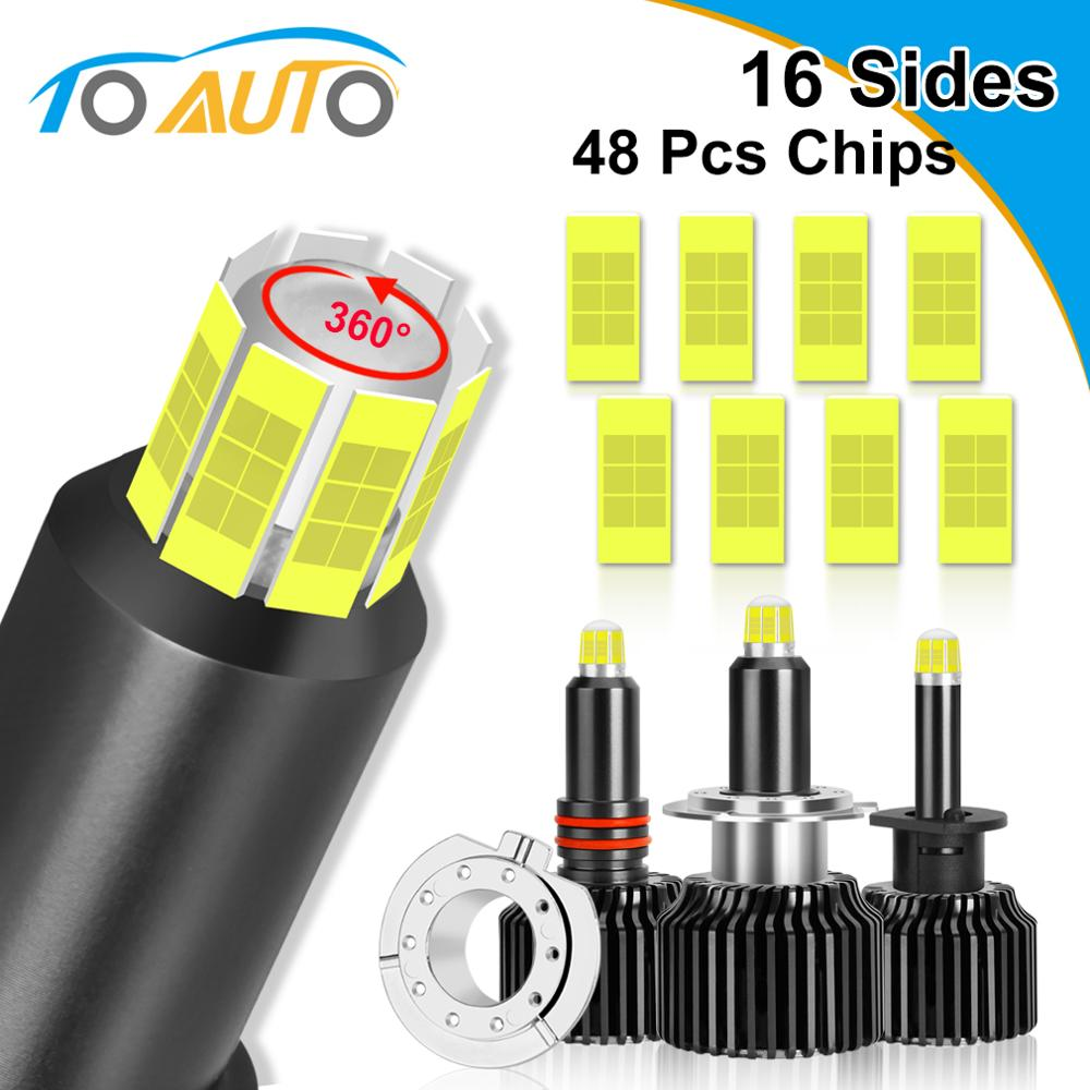 2pcs 48 Chips H1 H7 H8 H11 LED Lamp Car Headlight Bulbs HB3 9005 HB4 9006 3D LED Canbus 360 Degree 6000K 18000LM Auto Light 12V image