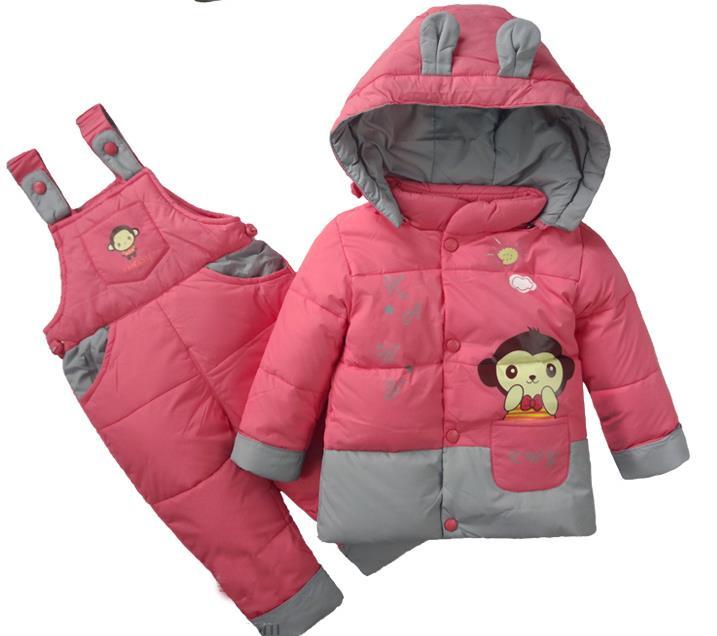 Snowsuit Children Clothing Set Down Jacket+Jumpsuit Warm Romper Sets Winter Suits For Girls&Boys Kids Ski Suit Winter Overalls