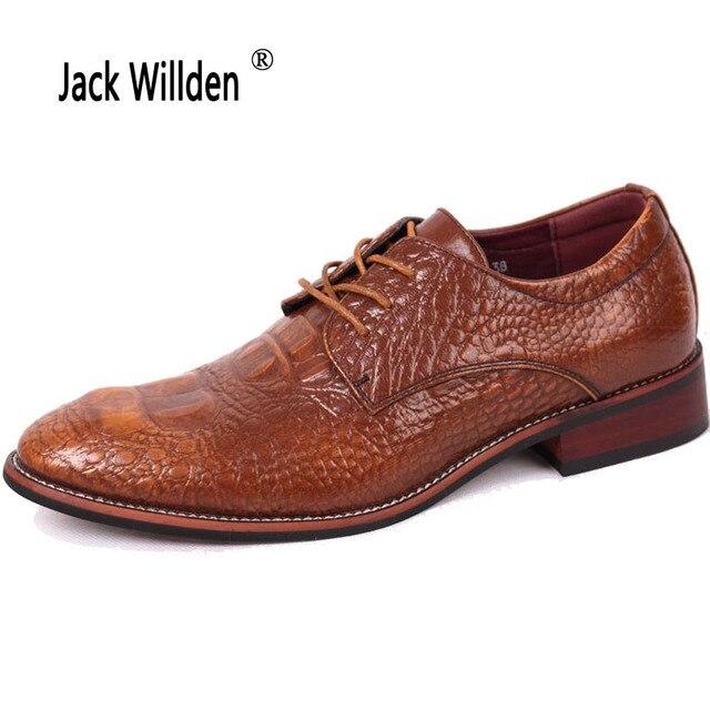 f8c754dcd9f5 US $34.03 35% OFF Jack Willden Herren Business Casual Leder Schuhe, marke  Männer Hochzeit Schuhe herren Kleid Derby Schuhe Schwarz Braun 4 Farben in  ...