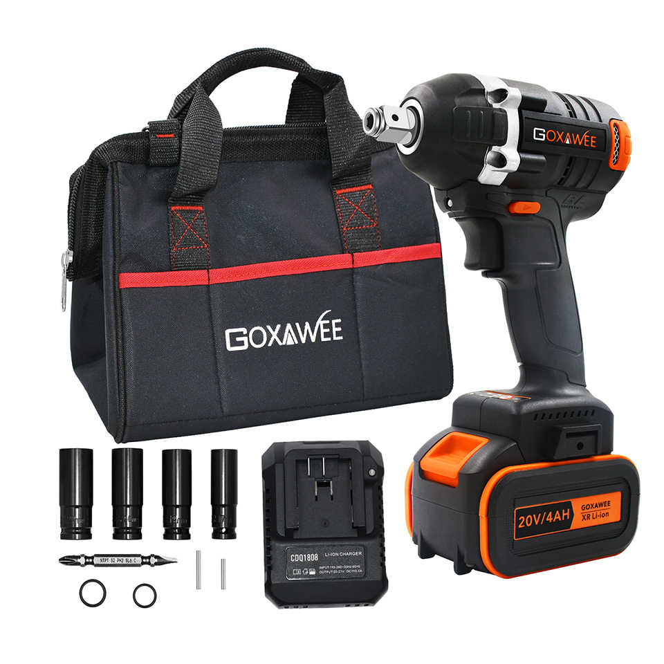 20V Brushless Cordless Impact Driver Electric Wrench 320N.m Torque For Household Car/SUV Wheel Socket Wrench Power Tools