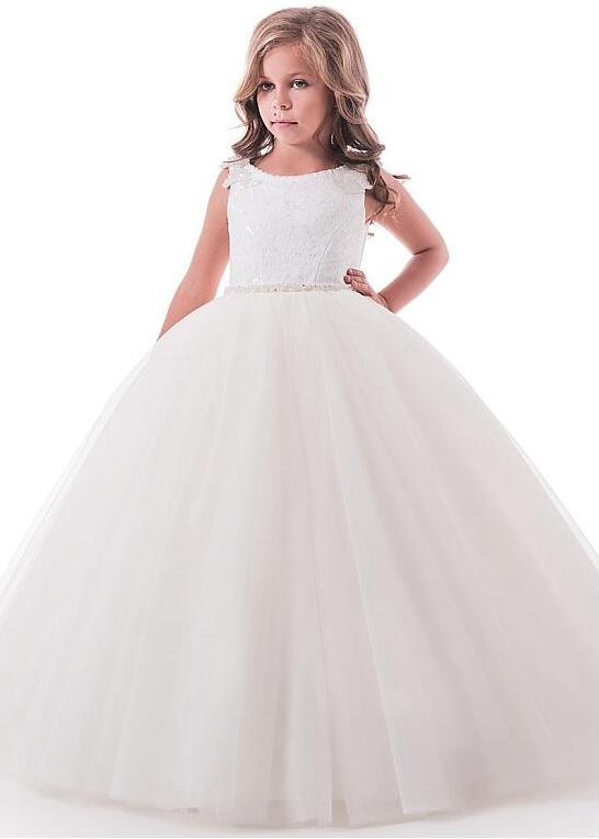 Delicate Tulle Lace Scoop Neckline Floor-length Flower Girl Dresses With Beaded Lace Appliques Beaded Belt Communion Dress