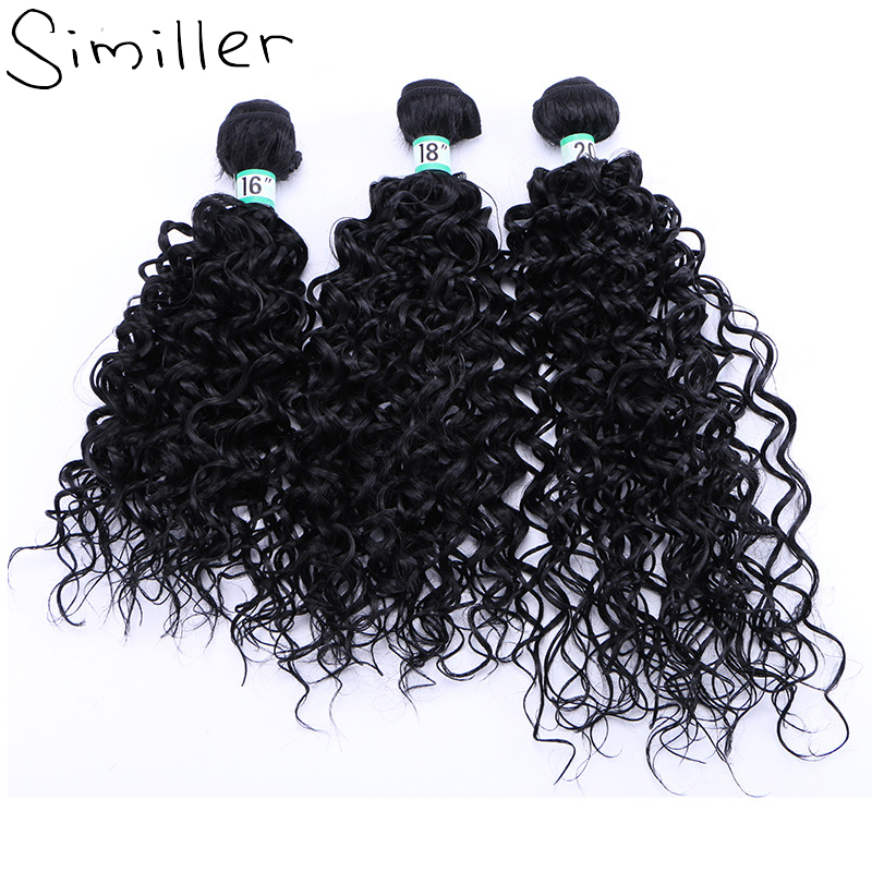 Similler Natural Black Kinky Curly Synthetic Hair Bundles Welf Extension Heat Resistance Pieces 16 18 20 210g