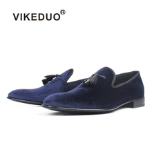 VIKEDUO velvet loafers shoes mens leather luxury casual mans footwear blue tassel slip-on sole zapato hombre
