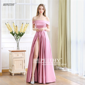 Image 3 - 2020 BEPEITHY Spring Robe De Soiree Pink Off The Shoulder Evening Dresses With High Slit Sexy Long Prom Party Dress Abendkleider