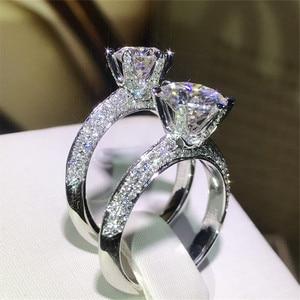 Image 3 - Clássico luxo real sólido 925 prata esterlina anel 2ct 10 corações setas sona diamante casamento jóias anéis de noivado para mulher