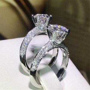 Image 3 - Klasyczne luksusowe naprawdę twarde 925 srebrny pierścień 2Ct 10 serca strzały SONA diamentowe wesele biżuteria pierścionki zaręczynowe dla kobiet
