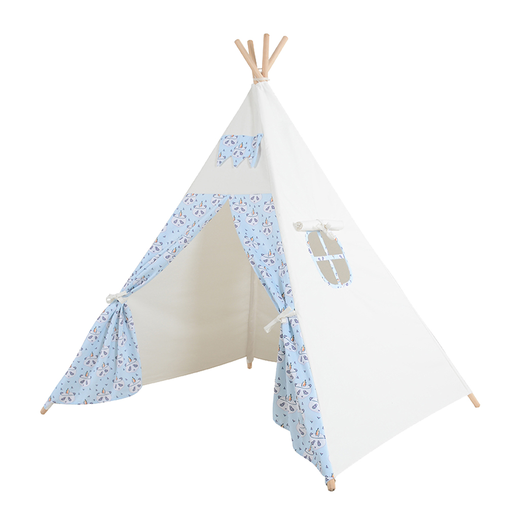 Kids Teepee Play Tent 100% Cotton Canvas Handcrafted Children Tipi Blue Panda Playhouse Indoor Outdoor Toy Boys Girls Baby Gift children tipi canvas cotton indian tent kids play house teepee baby game room playhouse boys and girls teepees toy tent page 6