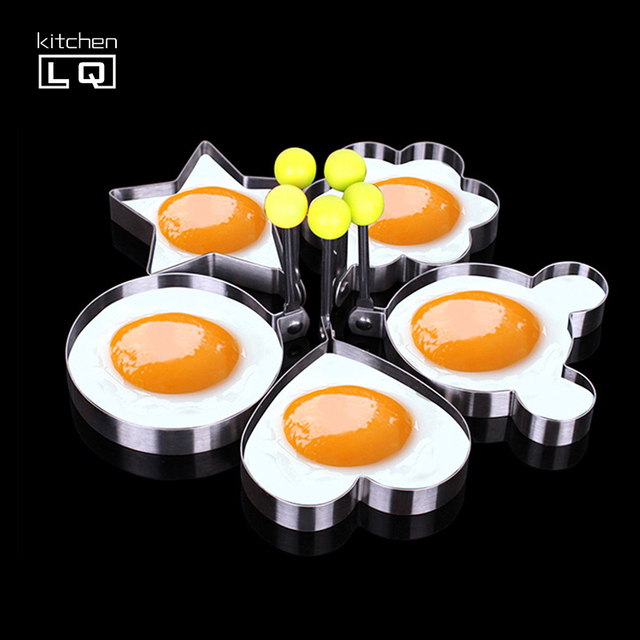 5Pcs Thicken Stainless Steel Heart Shape Cake Omelette Pancake Molds Fried Egg DIY Gadgets Love Round Star Mickey Flower