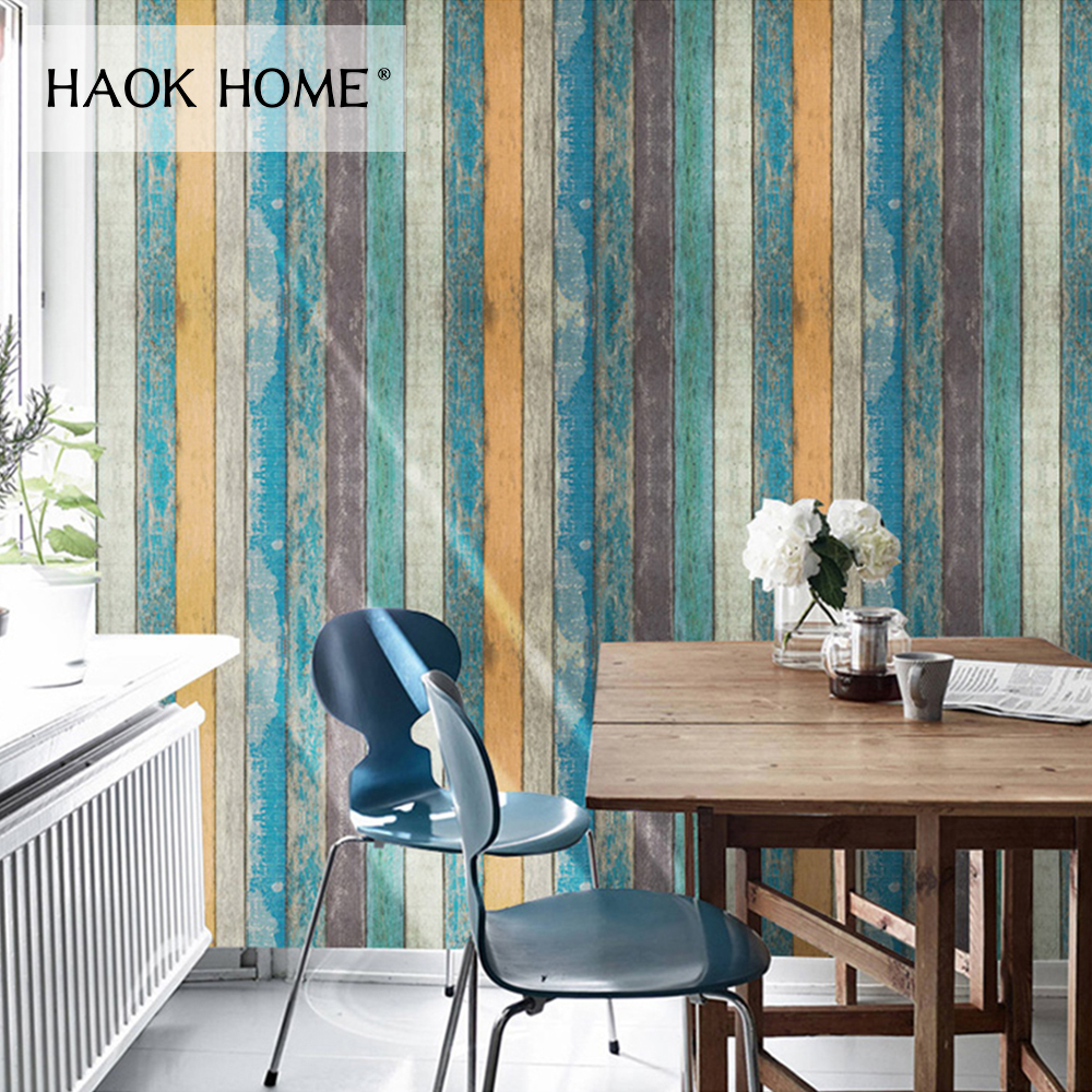 HaokHome 3d Wood Panel Wallpaper self adhesive contact paperVinyl Rolls Blue/Brown For Living room study room home decoration free shipping marble texture parquet flooring 3d floor home decoration self adhesive mural baby room bedroom wallpaper mural