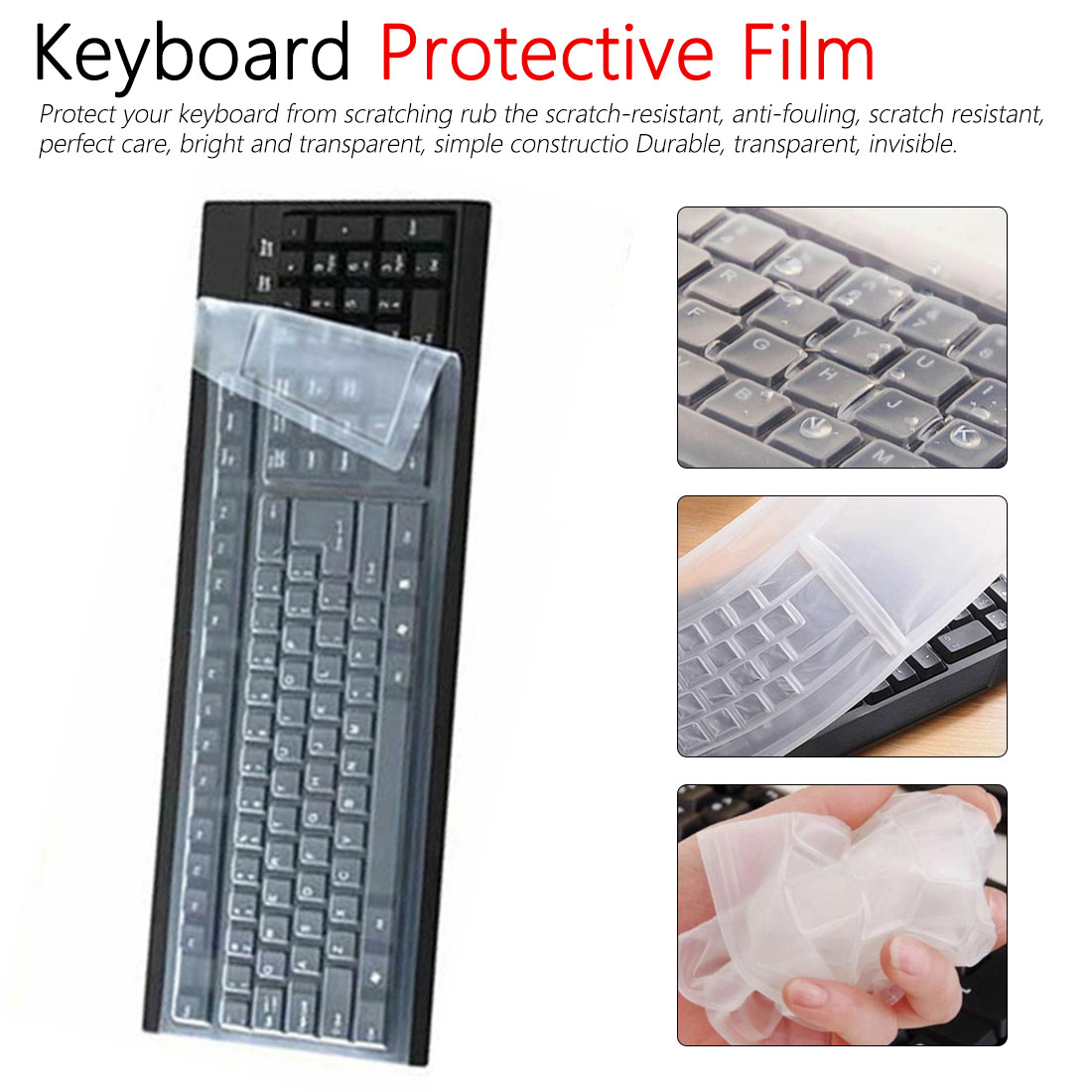 US 11-17inch Universal Laptop Dustproof Waterproof Silicone Clear Keyboard Cover