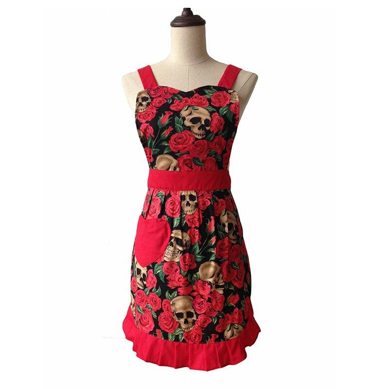 US $12.74 49% OFF|Skull Red Rose Retro Kitchen Apron Woman Cotton Apron  Avental de Cozinha Divertido Tablier Cuisine Pinafore Apron Vintage-in  Aprons ...