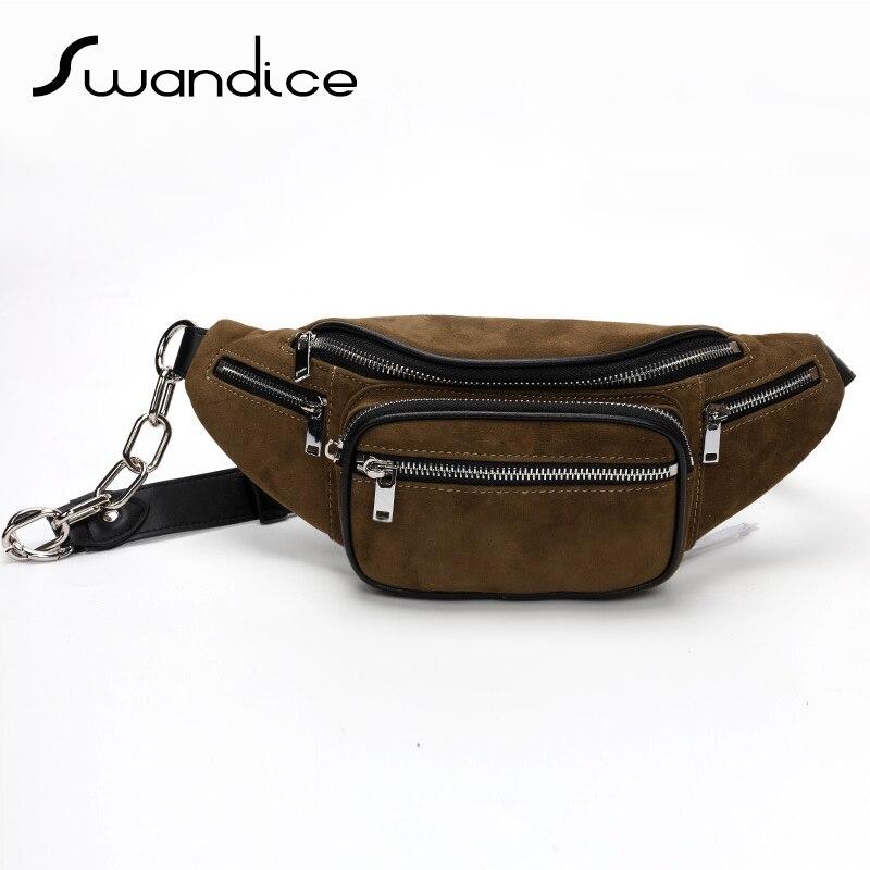 100 Lambskin Zipper Fanny Packs Chest Waist Bum Belt Handbags Real Genuine Cow Leather Crossbody Shoulder