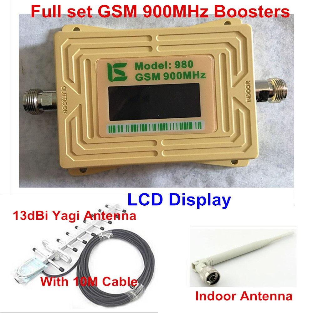 Amplificateur de Signal GSM 900 mhz à affichage LCD amplificateur de Signal cellulaire GSM 900 65dB répéteur de Signal cellulaire amplificateur GSM + antenne Yagi