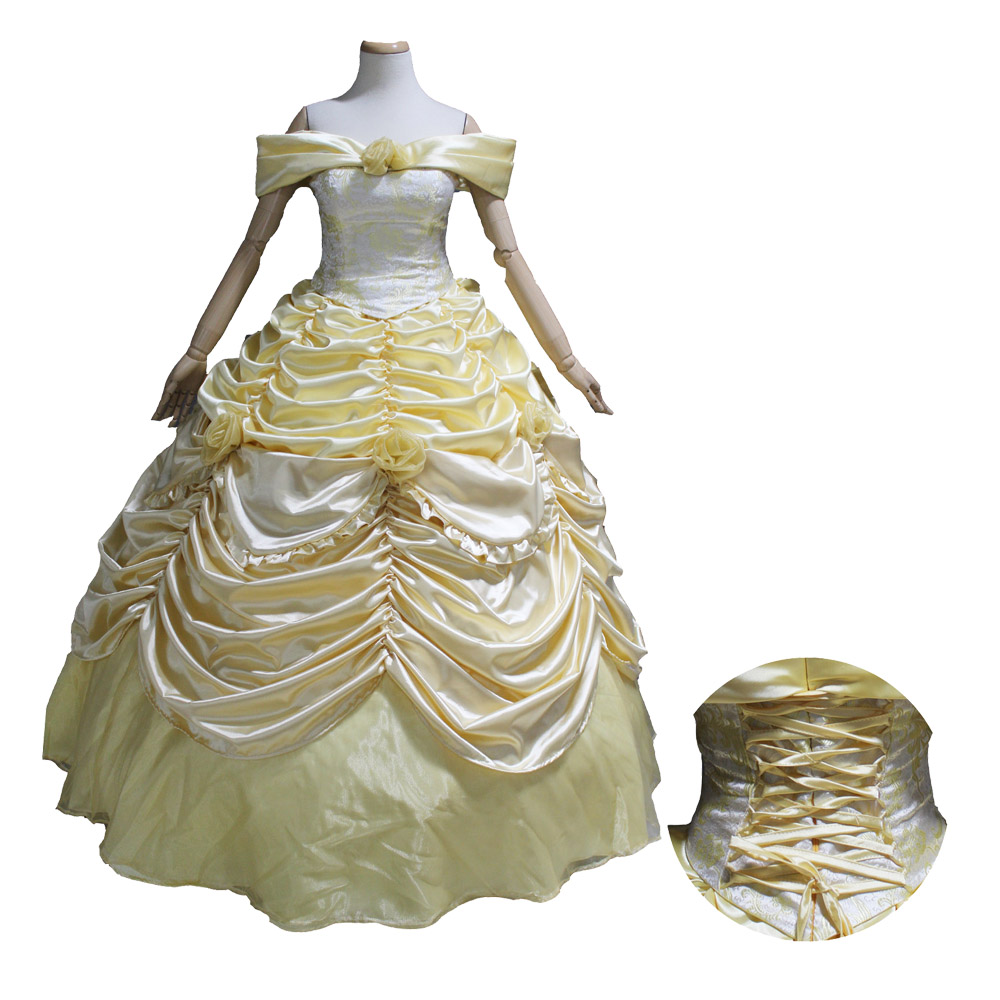 adult princess belle dress Beauty and the Beast cosplay costume belle yellow ball gown adult size