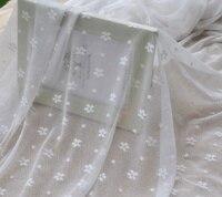 Handmade frete grátis roupas diy rendas tecido margarida branca flores gaze rendas pano roupas casa