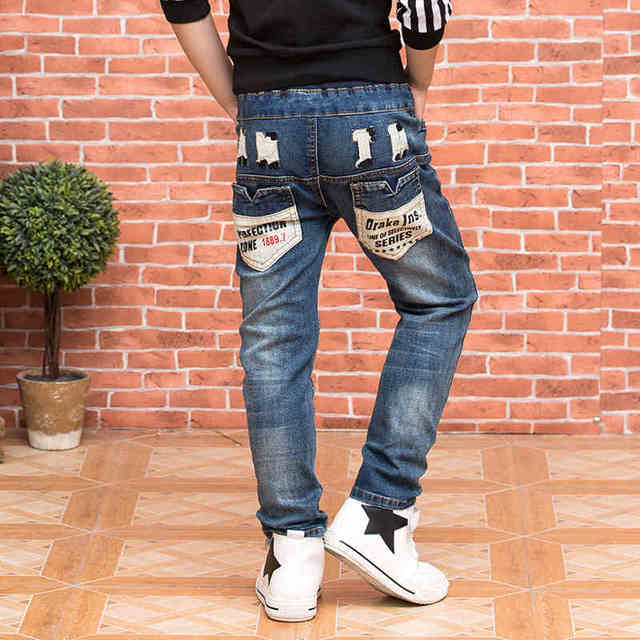 Мальчик джинсы брюки 2016 осенью новый Корейских детей случайные штаны мальчик брюки стрейч джинсы