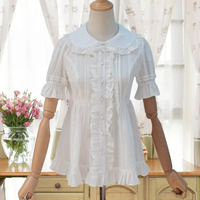 Summer Ladies Lolita Short Puff Sleeves Lace Cotton Ruched Blouse White Ruffle Loose Shirt Button Up Top Shirt For Women S XL