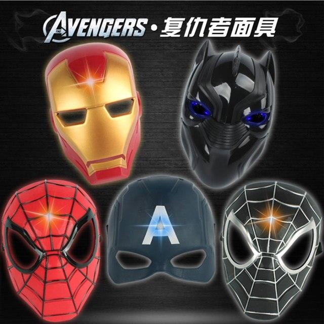 21 cm LED Glowing máscara de Super-heróis Brinquedos Das Crianças Do Homem Aranha Homem De Ferro Capitão América Filme Máscara Para O Dia Das Bruxas Dos Desenhos Animados Do Partido
