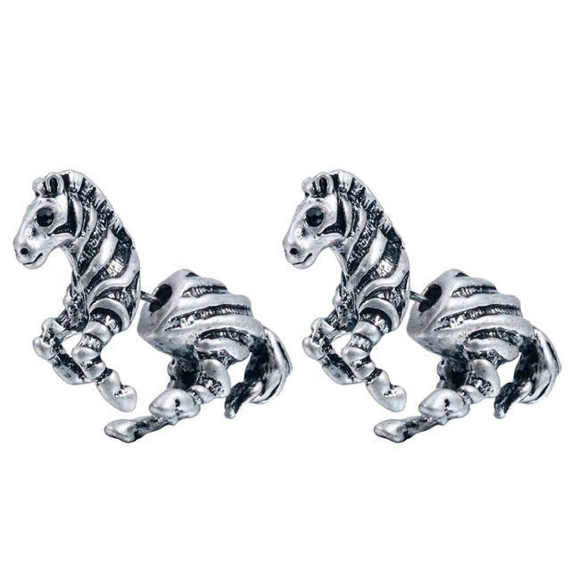 Qiming Realistic Zebra Horse Stud Animal Studs Two Parts Earrings For Men Women Nice
