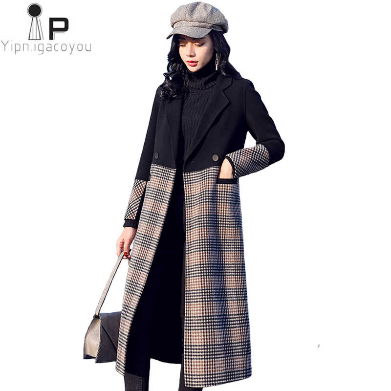 c1d3227be8af6 Autumn Winter Fashion Women Long Wool jacket 2019 New High Quality Spliced  Plaid Double breasted Woolen