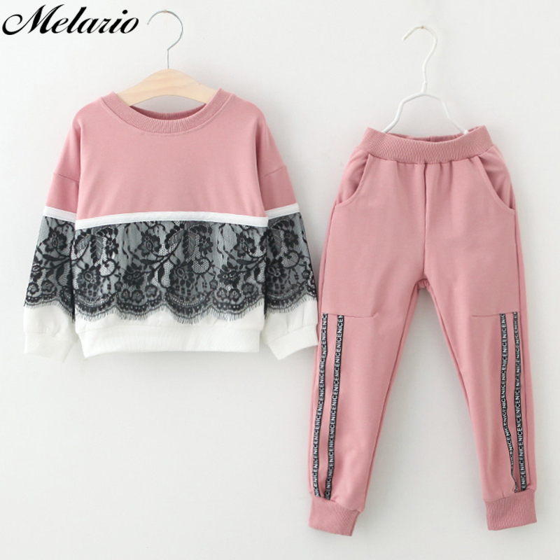 Melario Girls Clothing Sets 2018 Brand Style Kids Clothing Sets Cotton Rose Floral Embroidered Sequinsets Children Girls Suit стоимость