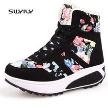 SWYIVY; Сезон Зима; Тонизирующая обувь на танкетке; женские спортивные кроссовки на платформе с бархатным мехом; теплая зимняя женская спортивная обувь с хлопковой подкладкой для похудения