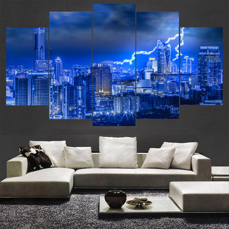 Newest Modern Home Decor Wall Art Thailand Skyscrapers Poster HD Printed Building Painting 5 Pieces Landscape Canvas Paintings
