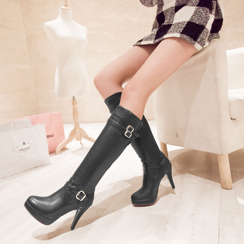 100% QualitäT Frauen High Heel Stiefel Kniehohe Stiefel Frauen Blue Jeans Dünne Fersen Schnalle Feminino Mujer Botas C257 Belebende Durchblutung Und Schmerzen Stoppen
