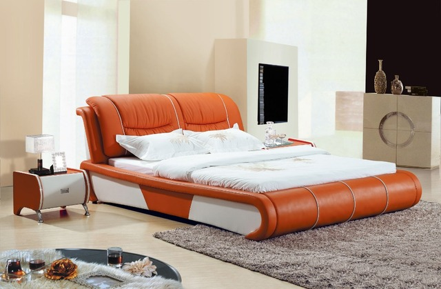 American Style Furniture   Bedroom Furniture   WARNER imported oil wax  leather bed   linen bed   two dimensions bedroom home 619. Online Shop American Style Furniture   Bedroom Furniture   WARNER