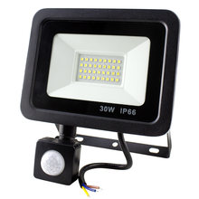 10W 20W 30W 50W Led Flood Light With Adjustable PIR Motion Sensor SMD 2835 Floodlight Led Outdoor Light For Wall Street Square(China)