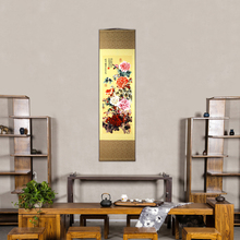 Beautiful Silk Scroll Painting gorgeous Peony national Flower figure Chinese wind art and craft Vintage Wall Picture  Home Decor