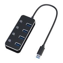 Hub USB 4 cổng USB USB3.0 Bộ chia Hub Một đến bốn Vỏ hợp kim Nhôm với công tắc độc lập USB