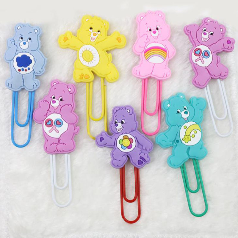1 Pcs Kawaii Cute Colorful Rainbow Cartoon Care Bears Seris Clip PVC Clips Cute Cartoon Little Book Clip Stationery