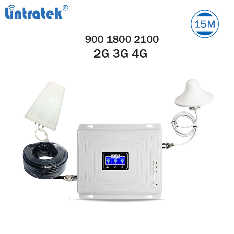 Lintratek Triband Signal Booster 900 1800 2100Mhz GSM Repeater 3G 4G LTE Amplifier Mobiel Phone Repeater