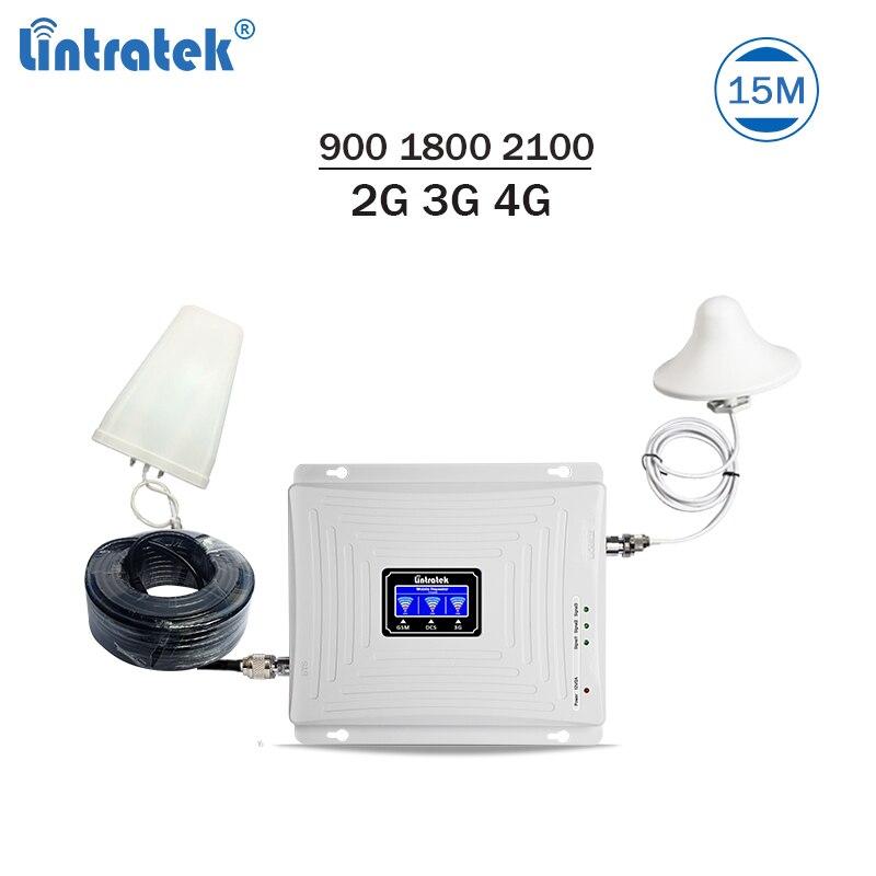 Triband Reforço De Sinal 900 1800 2100 Mhz GSM Repetidor Lintratek 3G 4G LTE Amplificador Repetidor Do Telefone Mobiel 2G 3G 4G 65dB GDW #3.9