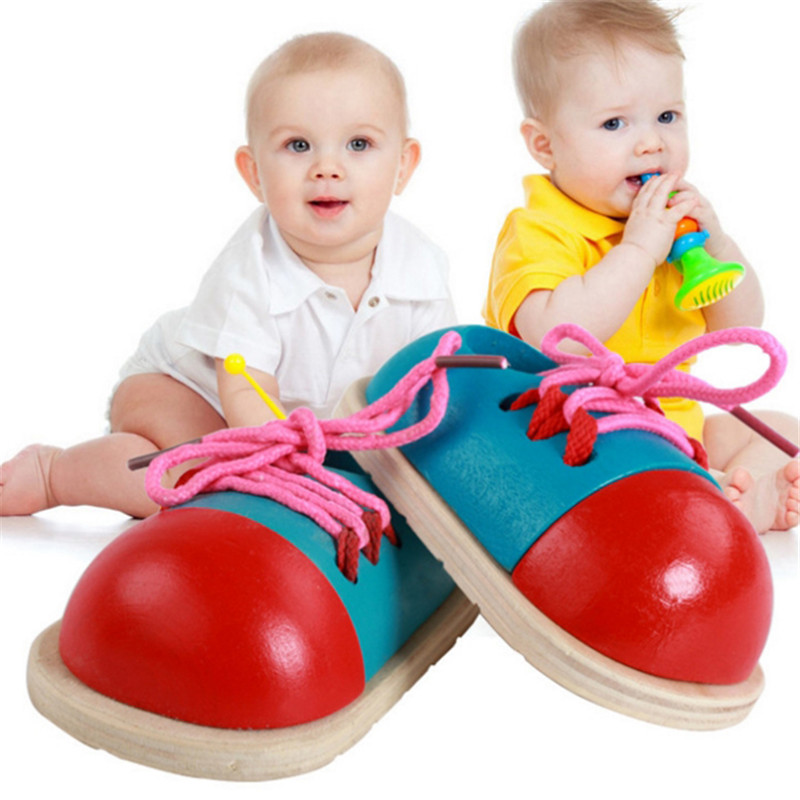 Montessori Toys Learning Educational Games For Children Wooden Toys Creative Puzzle Lacing Shoes Educational Child Games Kid Toy