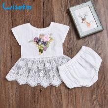 Wisefin Işlemeli Bebek Kız Giyim Seti Yapay Çiçekler Dantel Elbise Seti Yenidoğan Yaz Giysileri Kıyafetler Toddler Elbise + Şort