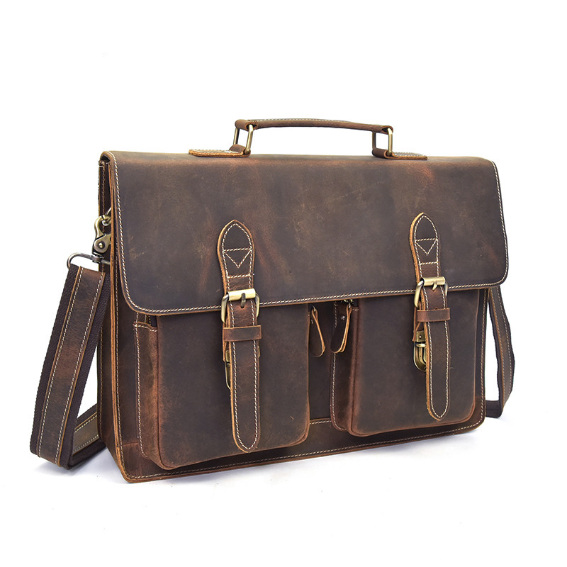 Hard Crazy Horse Leather Men Laptop Bag 14 Genuine Leather Business Bags Male Briefcases Work Tote Retro Messenger BagHard Crazy Horse Leather Men Laptop Bag 14 Genuine Leather Business Bags Male Briefcases Work Tote Retro Messenger Bag