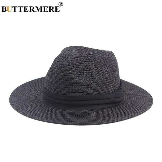 67885b7d321 BUTTERMERE Women Straw Panama Hat With Wide Brim Female Elegant Summer Sun  Fedora Hat British Style Latest Designs Beach Hat