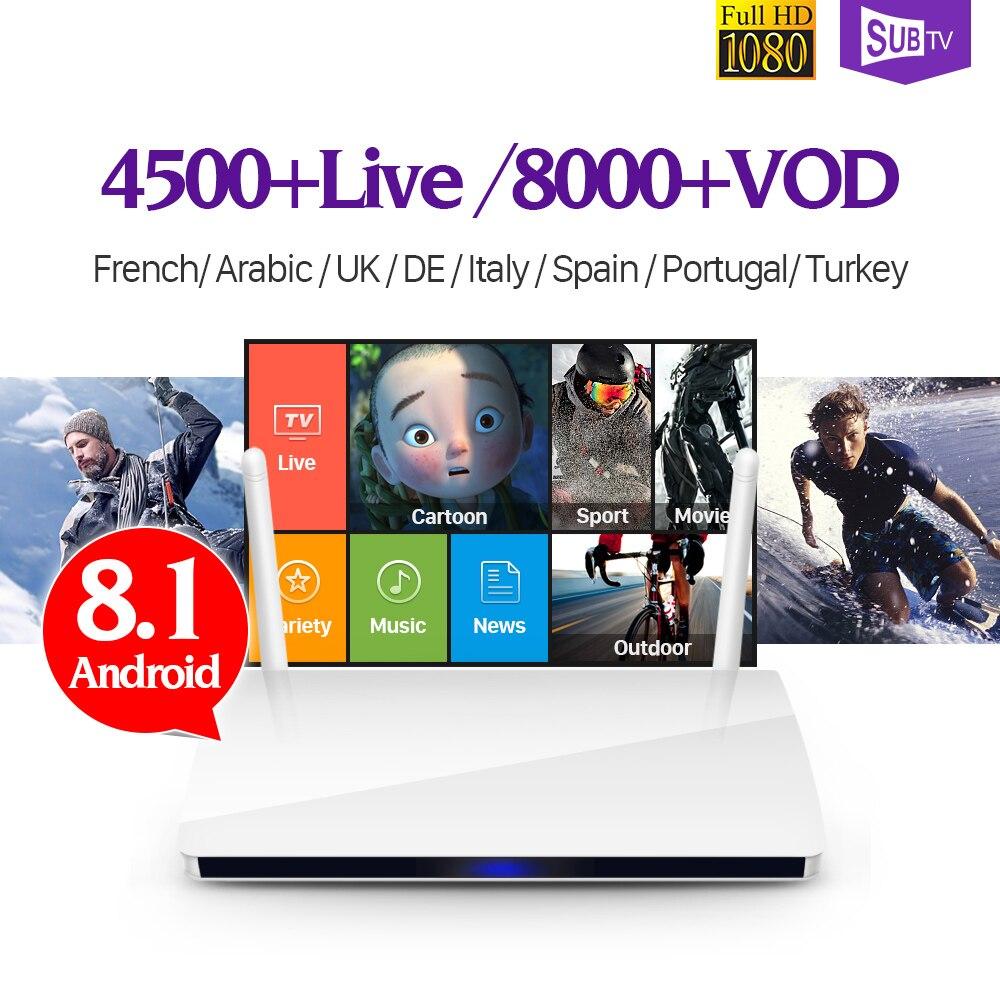Android 8.1 France Full HD IPTV boîtier d'abonnement R6 RK3229 H.265 décodeur 4 K arabe turquie Portugal Italia IPTV 1 an Box TV