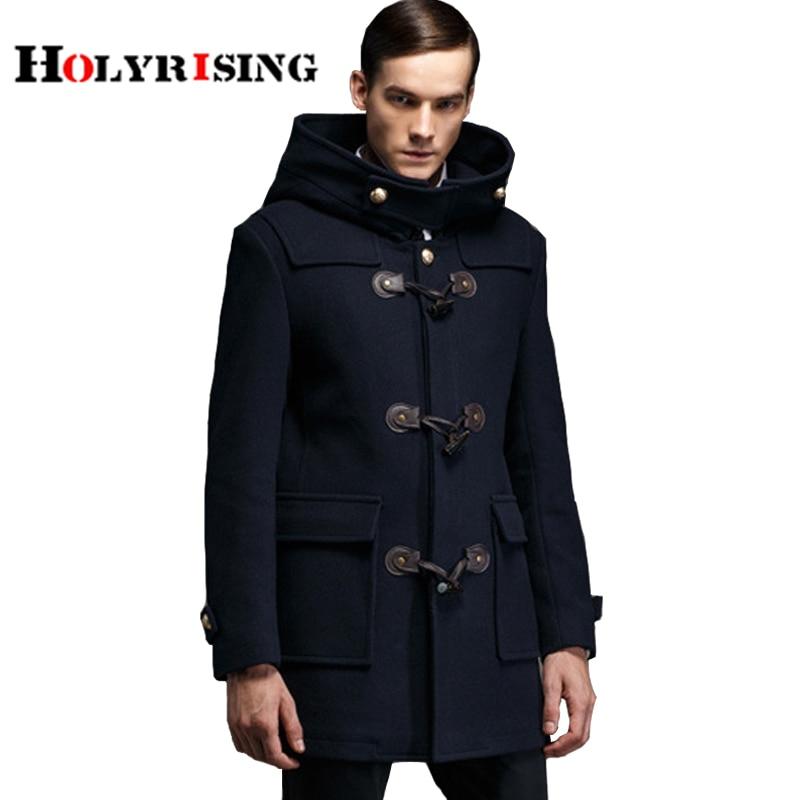 men Trench Coat horn button wool blends Suit design wool coat Men's Casual Design Jackets Coat for Men-in Wool & Blends from Men's Clothing    1